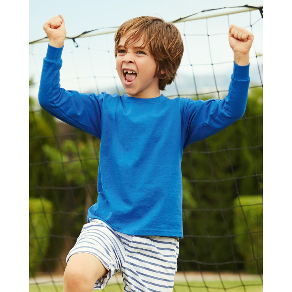 Fruit Of The Loom Children's Valueweight Long Sleeve T-Shirt 61007 lifestyle image royal blue