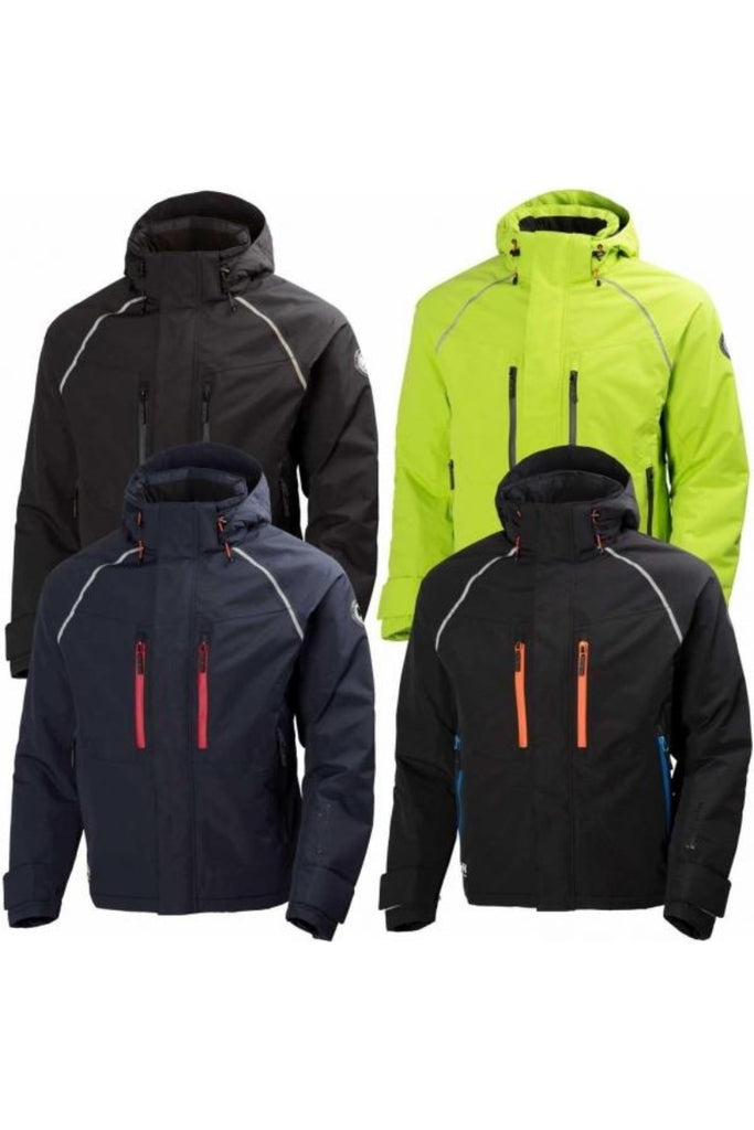 Helly Hansen Arctic Insulated Waterproof  Winter Jacket 71335 black orange navy blue lime green yellow front view