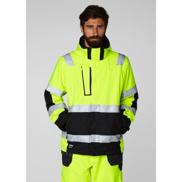 Helly Hansen Alna Winter Jacket 71394 Yellow Ebony front view hi vis