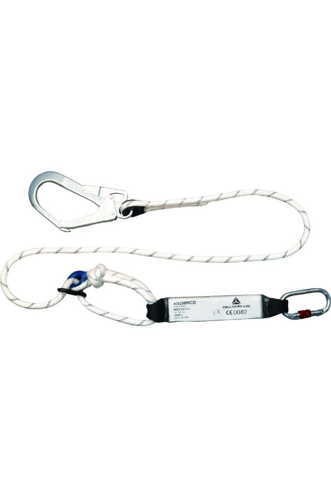 Delta Plus Energy Absorber Fall Arrester With Adjustable Ø 12mm Rope From 1.5 to 2m + 1 AM022 + 1 AM002 Karabiner AN208RCD