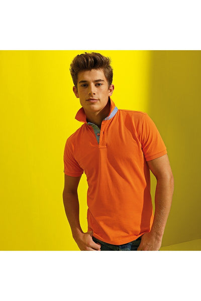Asquith & Fox Cotton polo with Oxford fabric insert AQ016 Orange/ Cornflower