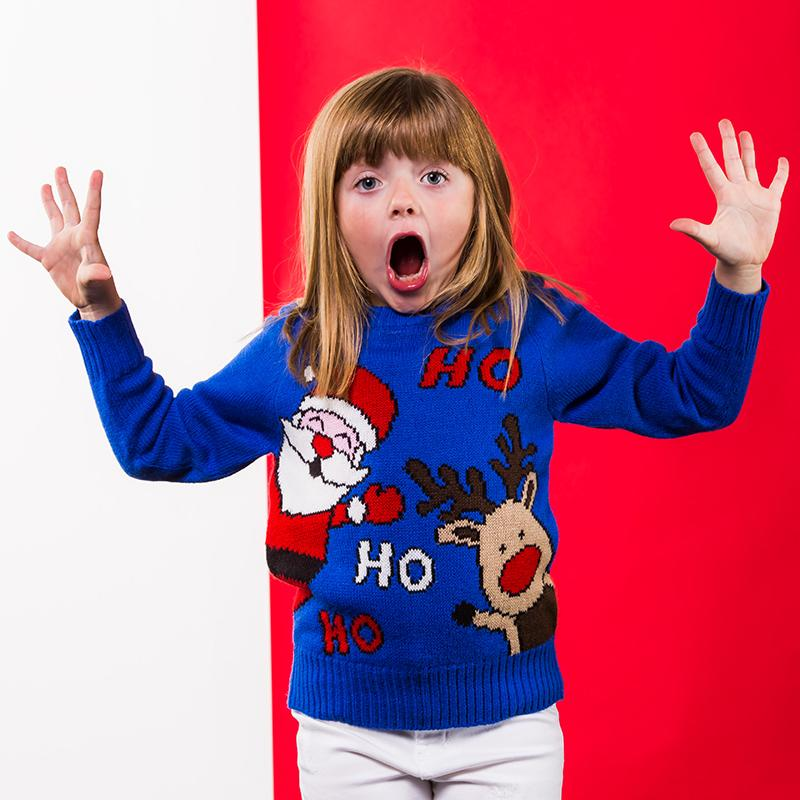 Christmas Shop Kids Ho Ho Ho Christmas jumper CJ150 Blue 23
