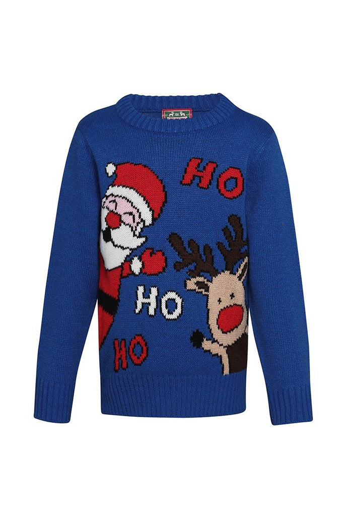 Christmas Shop Kids Ho Ho Ho Christmas jumper CJ150 Blue 910