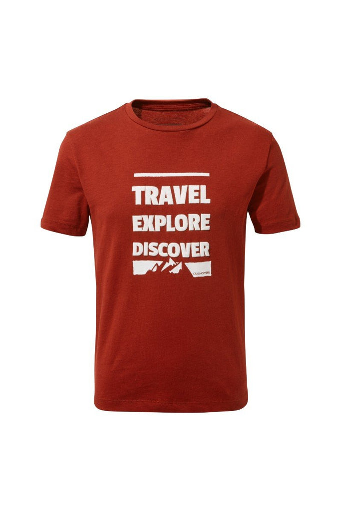 Craghoppers Expert Range Boys Diego Short Sleeved T-Shirt CKT558 Firth Red Slogan Mountain Kids 13 yrs