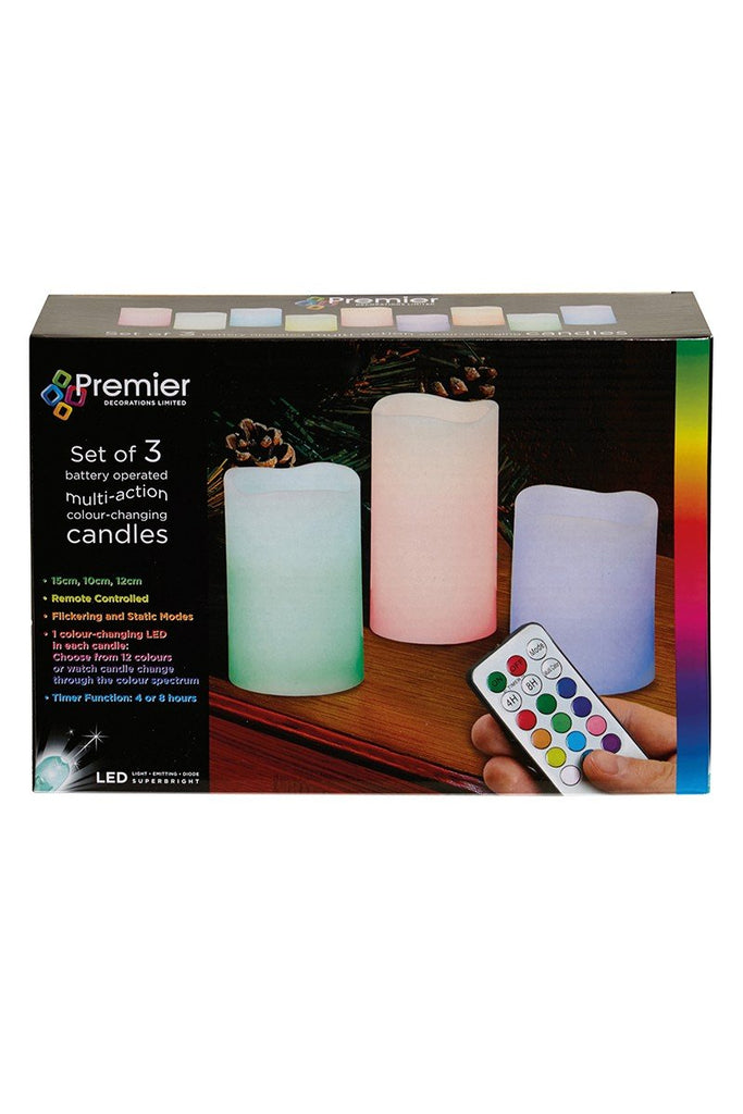 Christmas Shop 3 x battery operated colour changing candles CS355 Multi One Size