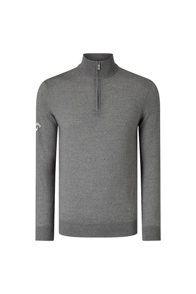 Callaway Ribbed 1/4 zip Merino sweater CW075 Quiet Shade Grey