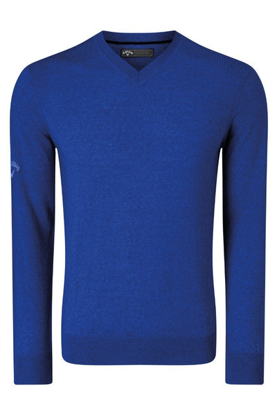 Callaway Ribbed v-neck Merino sweater CW076 Surfing Blue