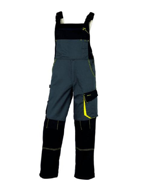 Delta Plus D-Mach Working Dungarees In Grey/Yellow Polyester Cotton DMACHSAL