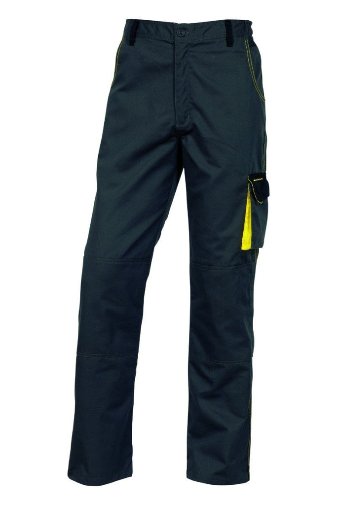 Delta Plus D-Mach Working Trousers In Polyester Cotton DMACHPAN Grey/Yellow