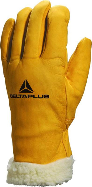 Delta Plus Cowhide Full Grain Leather Glove / Fleece Lined Cuff FBF15