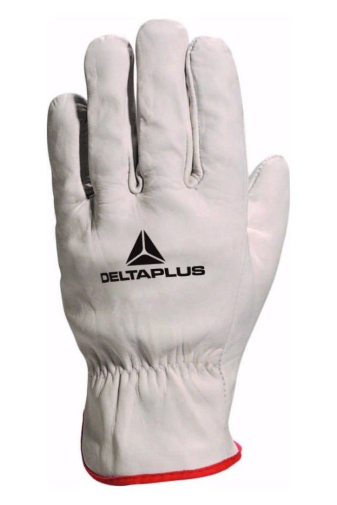 Delta Plus Grey Cowhide Leather Grain Glove With Red Edging FBN49