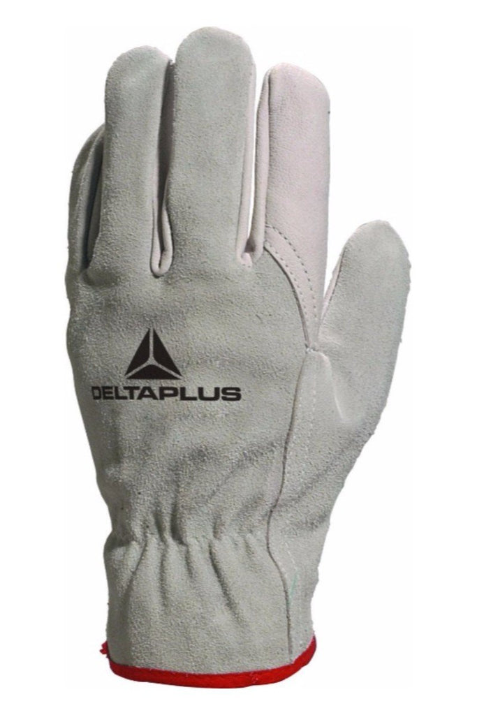 Delta Plus Grey Cowhide Grain Leather Palm / Split Back Glove FCN29