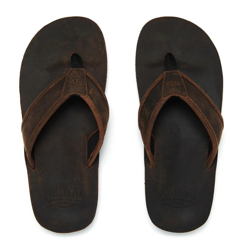Animal Men's Jekyl Leather Flip Flops FM8SN014 Brown