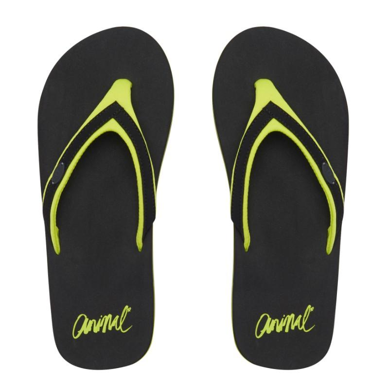 Animal Swish Slim Block Flip Flops FM8SN305 Black/Yellow