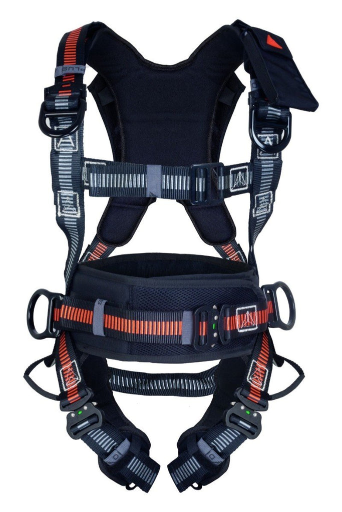Delta Plus Fall Arrest Harness With Belt Automatic Buckles 5 Hooking Points EOLIEN HAR35A Black/Orange