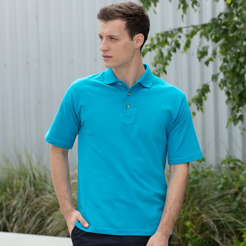 Henbury Classic cotton pique polo with stand up collar HB100