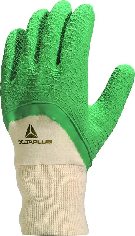Delta Plus Green Crepe Latex Glove On Cotton Support With Uncoated Back LA500