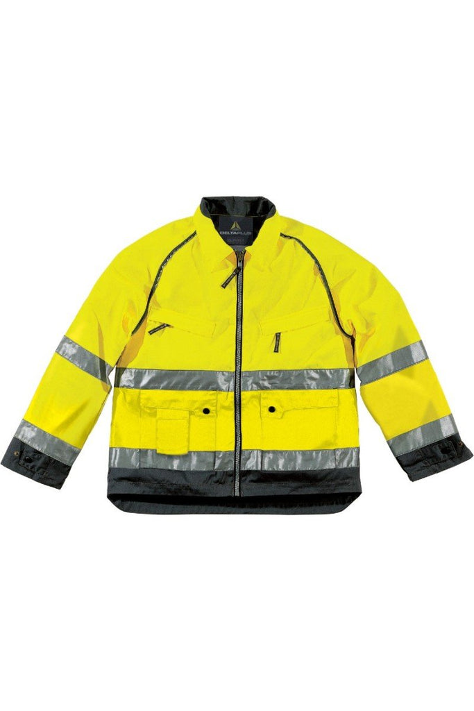 Delta Plus Mach High Visibility Hi Vis Working Jacket In Cotton / Polyester MHVES
