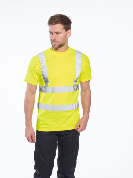 Portwest Cotton Comfort Short Sleeve Workwear T-Shirt S170 lifestyle image yellow