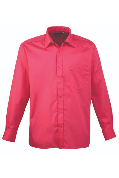 Premier Long Sleeve Poplin Shirt PR200 Bright Colours Hot Pink