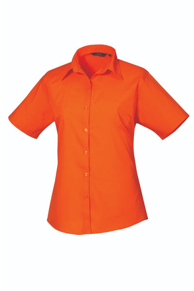 Premier Short Sleeve Poplin Blouse PR302 Bright Colours Orange