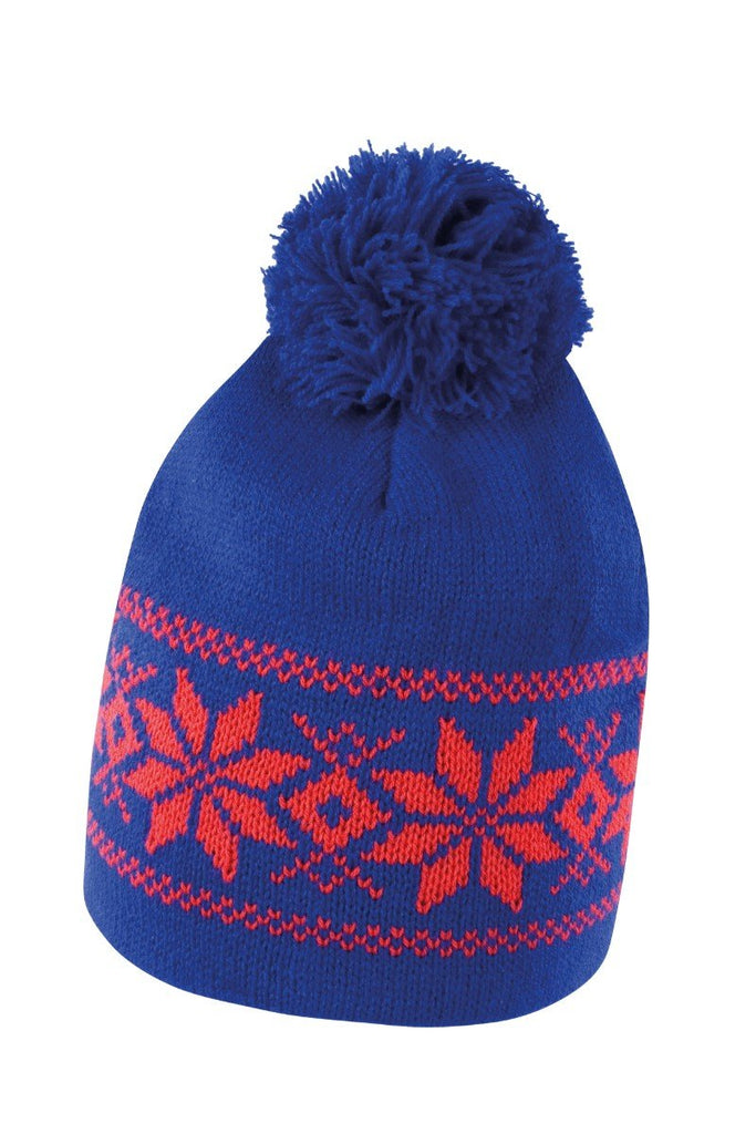 Result Winter Essentials Fair Isle knitted hat R151X Royal/ Red One Size