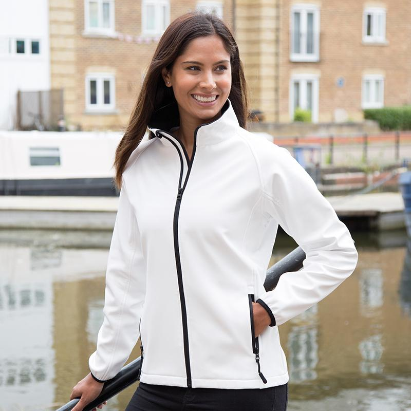 Result Core Women's printable softshell jacket R231F White/ Black 2XL