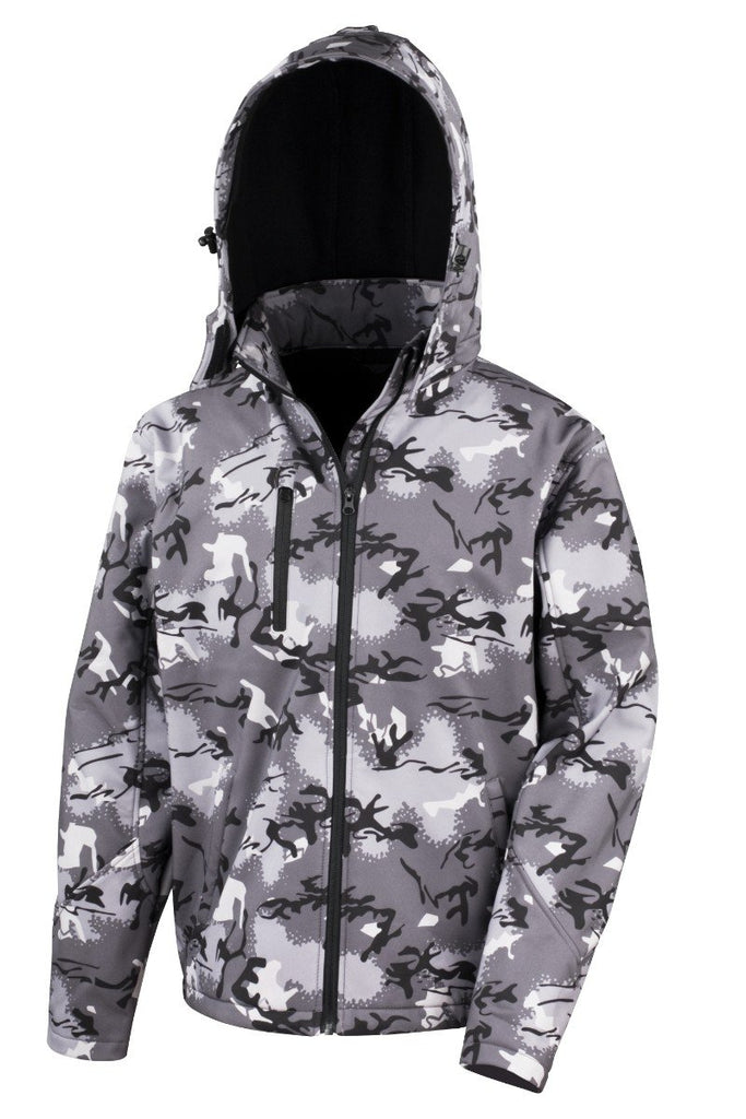 Result Core Camo TX performance hooded softshell jacket R235X Camo Charcoal XS