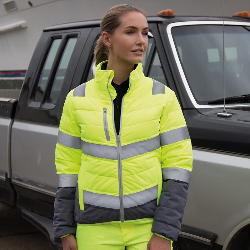 Result Safeguard Women's soft padded safety jacket R325F Fluorescent Yellow/ Grey L