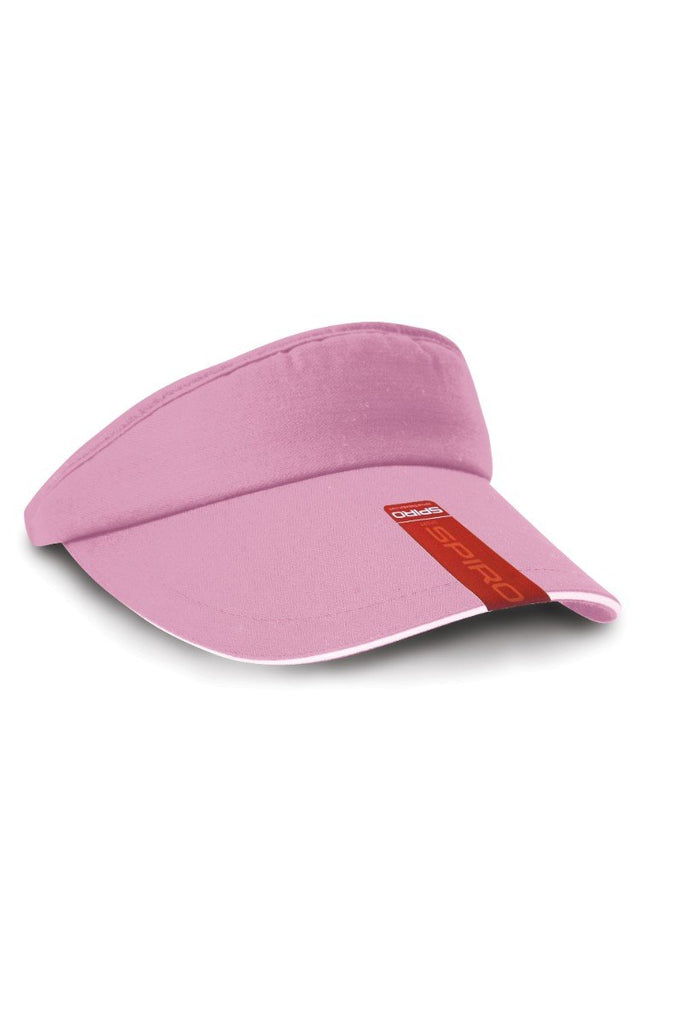 Result Headwear Herringbone sun visor with sandwich peak RC48X Pink / White One Size