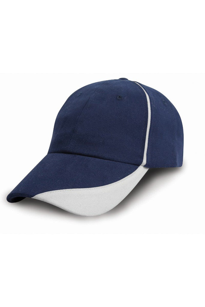 Result Headwear Heavy brushed cotton cap with scallop peak and contrast trim RC51X Navy / White One Size