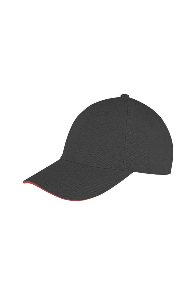 Result Headwear Memphis brushed cotton low-profile sandwich peak cap RC91X Black/ Red One Size