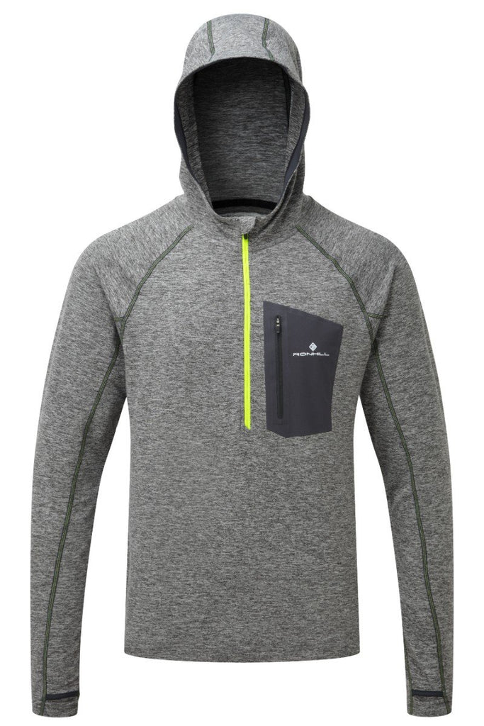 Ronhill Men's Victory Hoodie RH-001407 Grey/Fluo Yellow