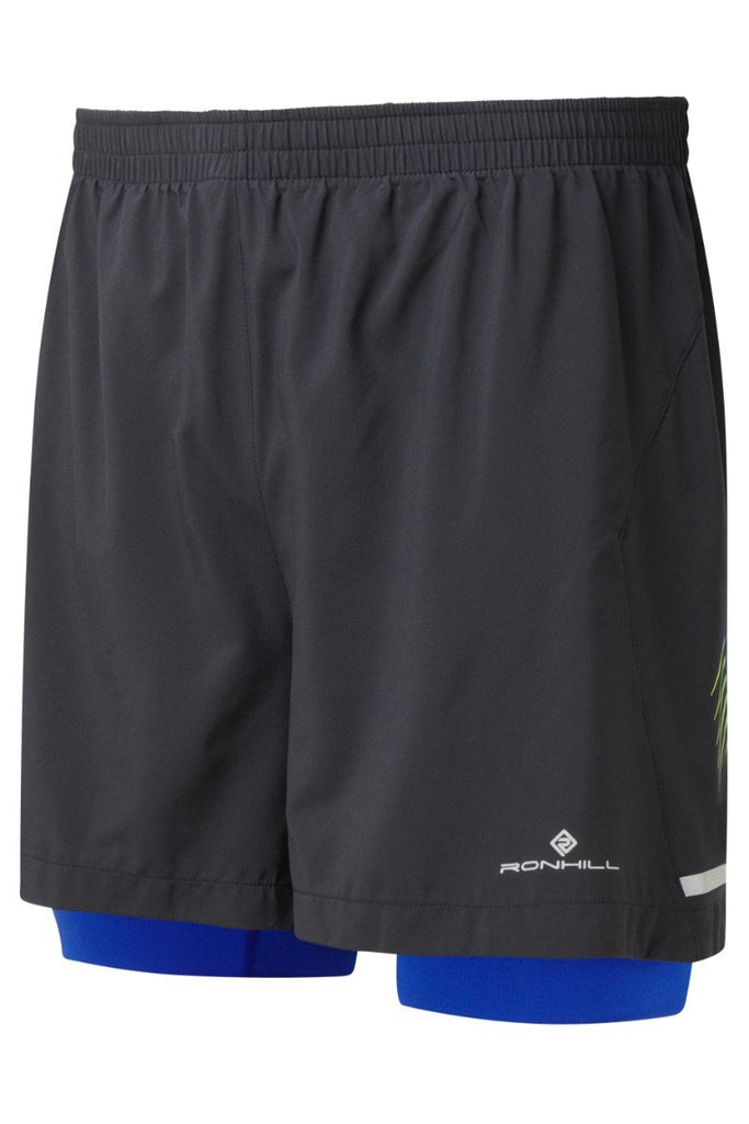 Ronhill Men's Stride Twin Shorts RH-002207 Black/Cobalt/Gecko