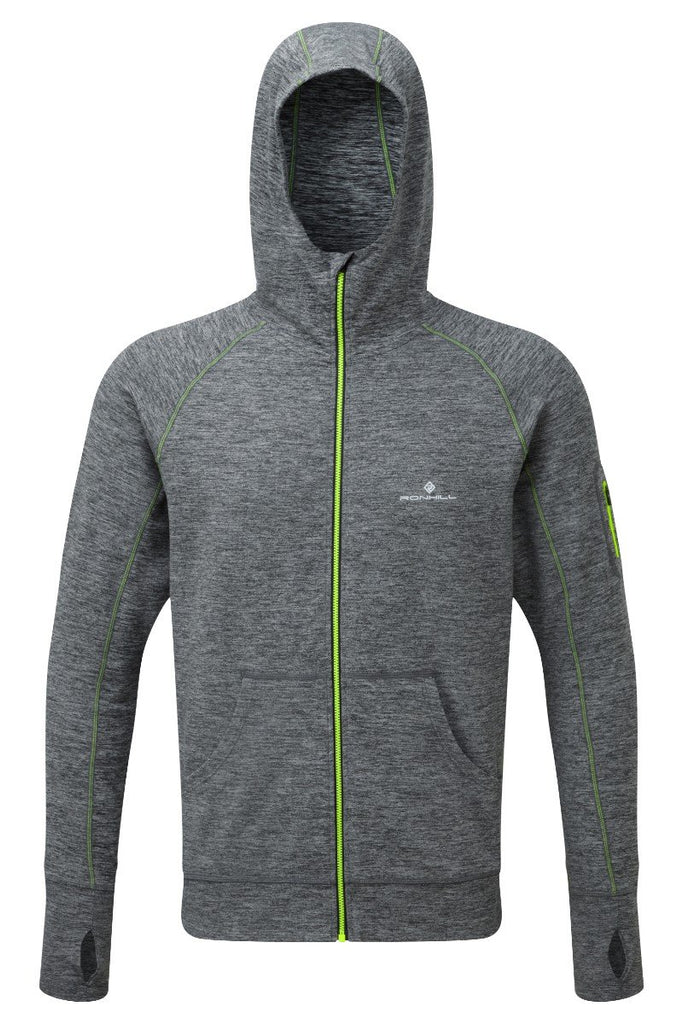 Ronhill Men's Momentum Podium Hoodie RH-002605 Grey Marl/Fluo Yellow