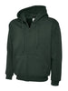Uneek 300GSM Adult Classic Full Zip Bottle Green Hooded Sweatshirt UC504