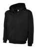 Uneek 300GSM Adult Classic Full Zip Black Hooded Sweatshirt UC504