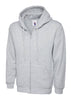 Uneek 300GSM Adult Classic Full Zip Heather Grey Hooded Sweatshirt UC504