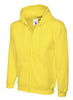 Uneek 300GSM Adult Classic Full Zip Yellow Hooded Sweatshirt UC504