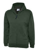 Uneek Childrens 300GSM Classic Full Zip Hooded Sweatshirt UC506 bottle green