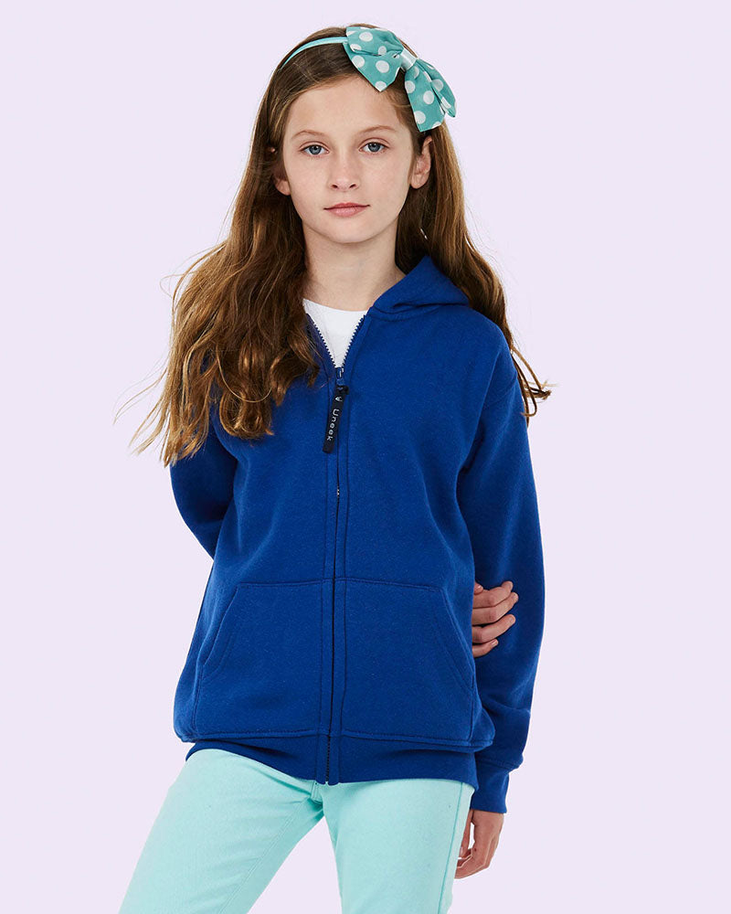 Uneek Childrens 300GSM Classic Full Zip Hooded Sweatshirt UC506 Royal blue lifestyle image