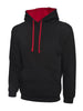 Uneek 300GSM Contrast Hooded Sweatshirt UC507 black red