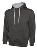 Uneek 300GSM Contrast Hooded Sweatshirt UC507 charcoal heather grey