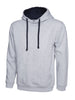 Uneek 300GSM Contrast Hooded Sweatshirt UC507 heather grey navy