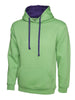 Uneek 300GSM Contrast Hooded Sweatshirt UC507 lime purple