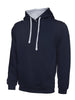 Uneek 300GSM Contrast Hooded Sweatshirt UC507 navy heather grey