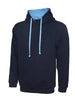 Uneek 300GSM Contrast Hooded Sweatshirt UC507 navy sky blue