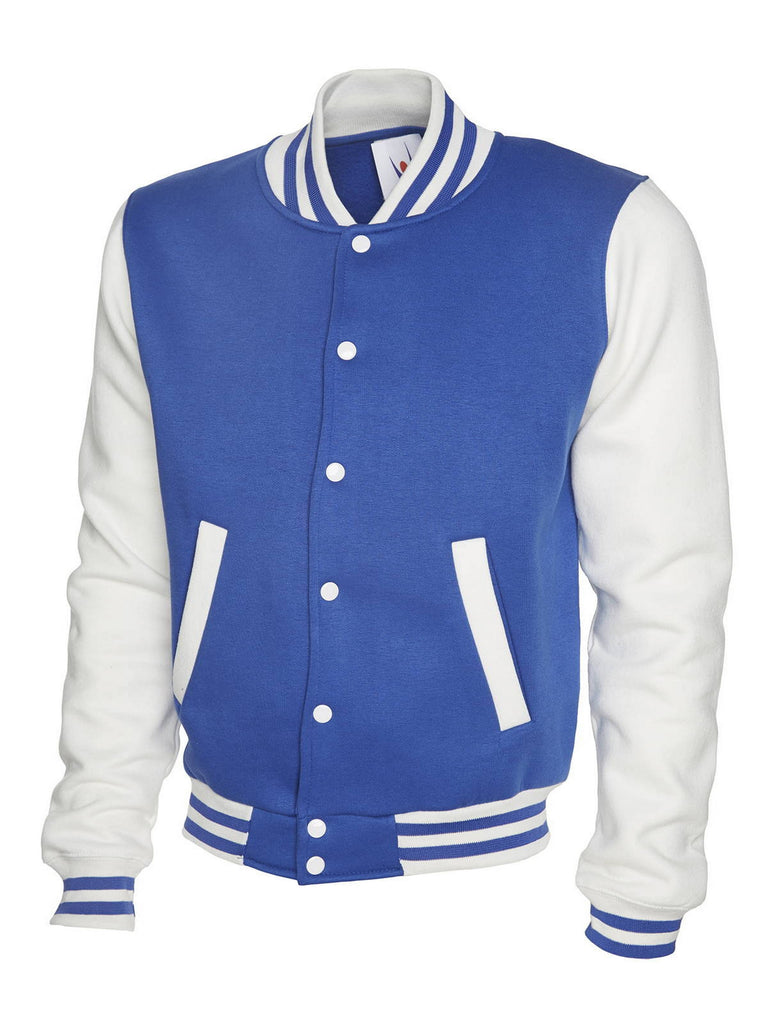 Uneek Men's 300GSM Varsity Jacket UC525 royal blue white