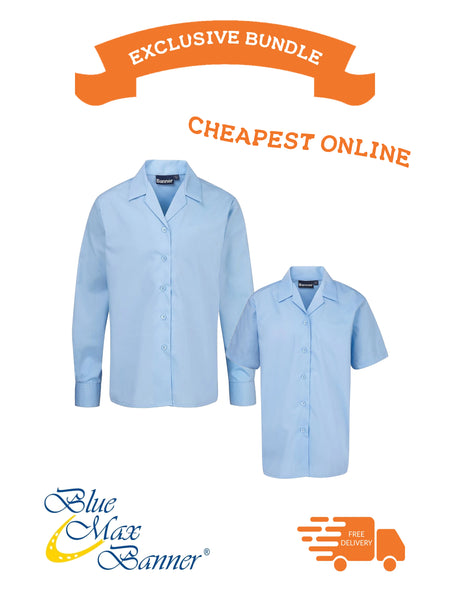 Back to School Offer Blue Max Banner Twin Pack Revere Short Sleeve and Long Sleeve Blouse