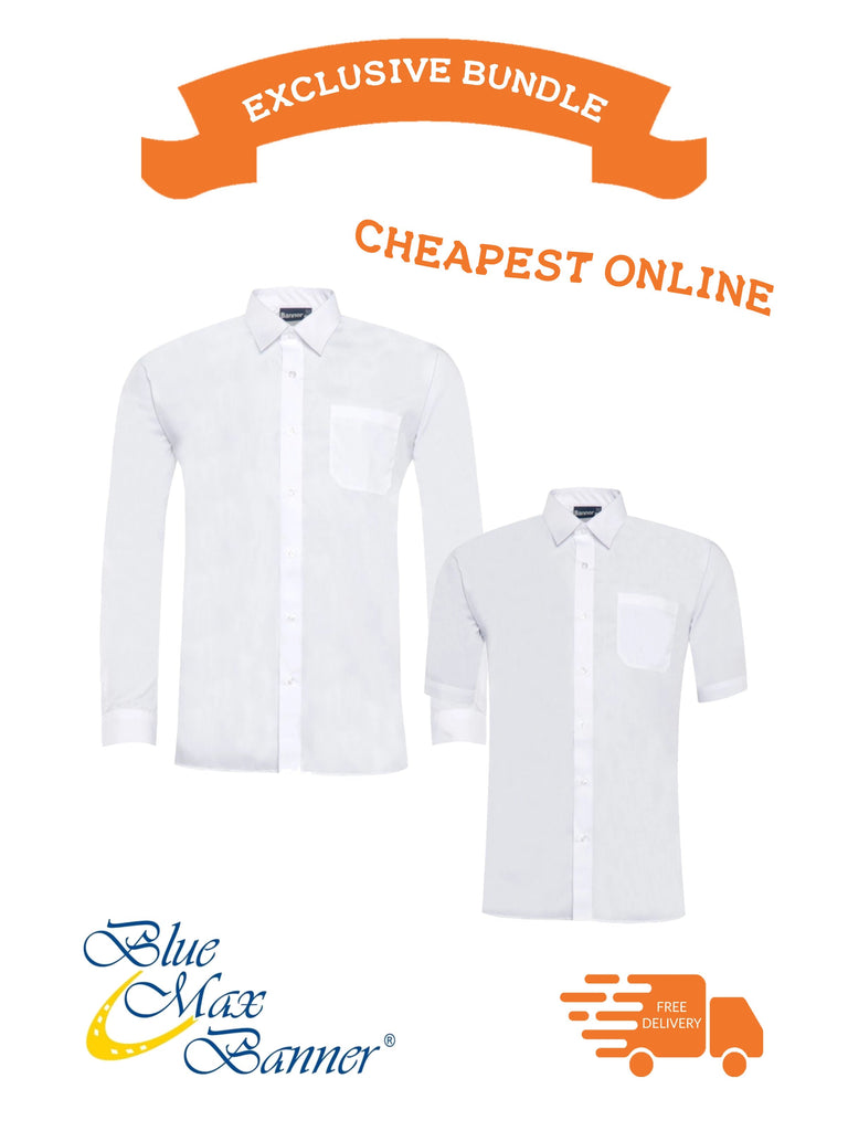 Back to School Offer- Blue Max Banner Boys Slim Fit Long and Short Sleeve Twin Pack